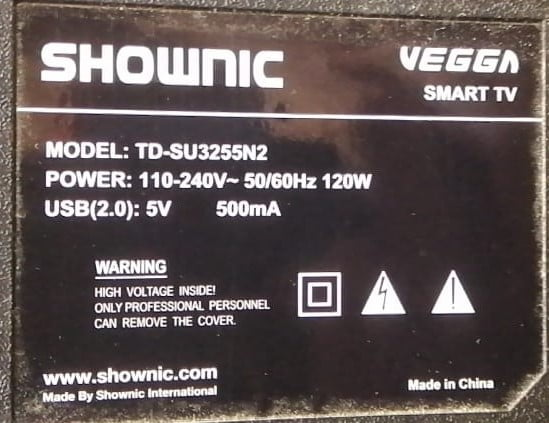 Shownic TD-SU3255N2 Hang On Startup How To Master Reset